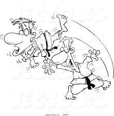 vector cartoon judo man fighting coloring outline
