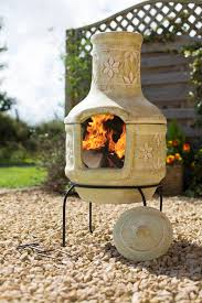 Extra Large Clay Chiminea Pizza Flowers Clay Chiminea Patio Heater With Bbq By Oxford