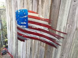 Ripped American Flag Betsy Ross 1776 Tattered And Torn American Flag Metal Art