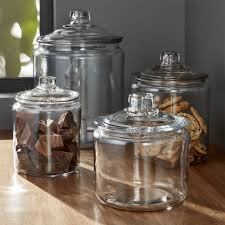 glass kitchen canisters heritage hill glass jars with lids crate and barrel