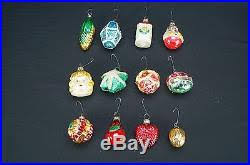 set of 12 antique feather tree mercury glass ornaments