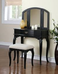 Makeup Stool Furniture Small Black Vanity Desk With White Chair And Large