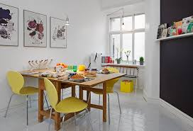 Black Wooden Dining Table And Chairs White Saddle Mixed Light Brown Wooden Table Scandinavian Dining