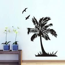compare prices on tree wall mural online shopping buy low price dctop flying bird and palm tree wall sticker for living room seaside scenery bathroom home decor