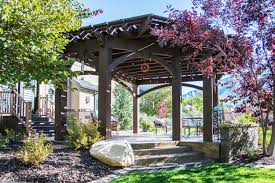 6 post monolithic pergola w sunken fire pit western timber frame