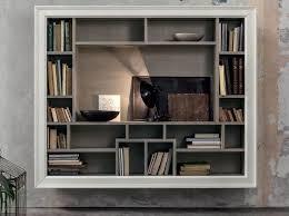 libreria tv libreria a giorno sospesa in legno massello con porta tv eclettica