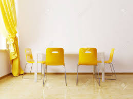 modern dining room with a yellow chairs stock photo picture and