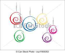 clipart vector of colorful christmas ornaments simple design of