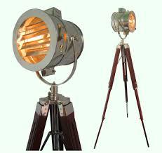 Tripod Floor Lamps Chrome Look Vintage Design Searchlight Spotlight Telescopic Tripod