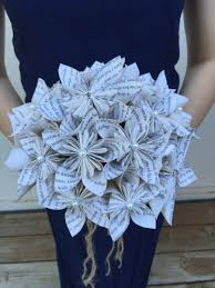 themed paper book page paper flower bouquet book themed wedding bouquet