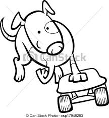 vector of dog on skateboard coloring page black and white