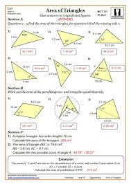 trigonometry worksheets with answers area of triangle trig worksheet