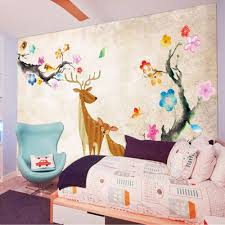 online get cheap deer wall mural aliexpress com alibaba group deer plum blossom kids bedroom wallpaper photo wall mural rolls for living room carton wall paper