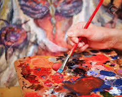 artist brush mix color oil painting on palette is holding in
