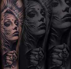 portrait of woman with cross tattoo 3d ideas tattoo designs
