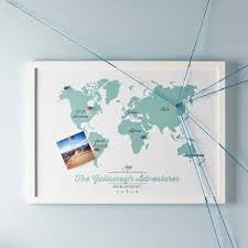World Map Framed Personalised World Map Pinboard Timekeeperwatches