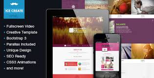 ice create responsive one page html template by mustachethemes