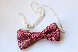 bow necklace diy images Diy no sew glitter bow necklace pretty prudent jpg