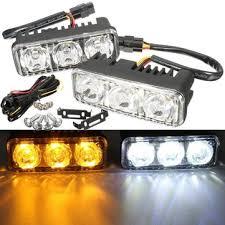 pair led car white drl u0026 amber turn signal lamp daytime driving