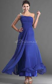 a line one shoulder long royal blue chiffon bridesmaid dresses