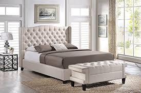 Modern Platform Bed With Lights - amazon com baxton studio norwich linen modern platform bed with