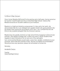 best ideas of examples of college recommendation letters from