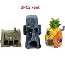 1 set aquarium ornament spongebob figures pineapple