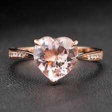heart shaped engagement ring engagement ring heart shaped morganite diamonds 14k gold