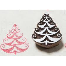 blockwallah hand carved wood stamp b069 curvy christmas tree