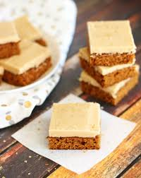 maple frosting gingerbread bars with maple brown sugar frosting