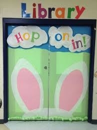 Easter Door Decorations Pinterest by Hop On In To The Library Easter Door Display Idea Spring Ideas