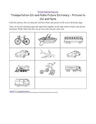 transportation cut and paste picture dictionary a short book to