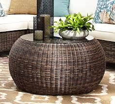 Wicker Patio Coffee Table Torrey All Weather Wicker Coffee Table Pouf Espresso Pottery Barn