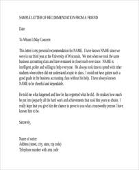 6 sample recommendation letter for a friend 8 free documents