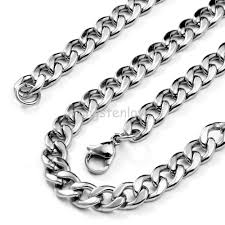 stainless steel link necklace images New 50cm 5 5mm polished stainless steel curb cuban link chain men jpg