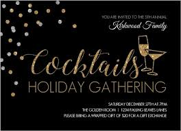 faux gold glitter cocktails business holiday party invitation