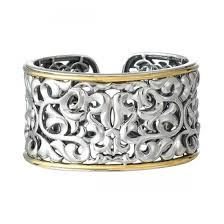 gold silver cuff bracelet images Charles krypell sterling silver 18k yellow gold wide ivy cuff jpg