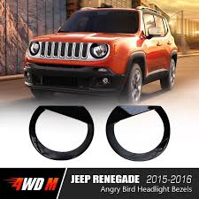 jeep grill logo angry black angry bird headlight bezels for jeep renegade 2015 2016 pair