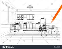 linear kitchen 3d linear kitchen interior stock illustration 103465298 shutterstock