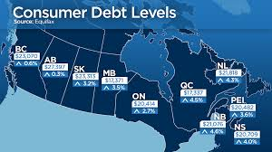 Map Of Ontario Map Debt Levels Rise Fastest East Of Ontario As Jobs Incomes Lag