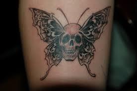 grey ink skull butterfly tattooshunt com