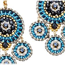 chandeliers earrings miguel ases blue miyuki bead chandelier earrings in blue lyst