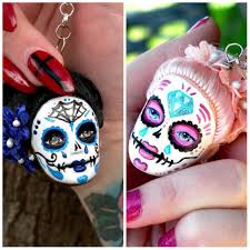 sugar skull keychains from doll heads day of the dead