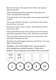 halving word problems year 1 by lauramarie21 teaching resources