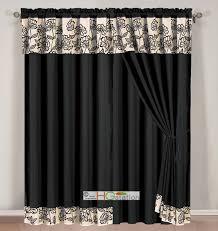 4 pc striped floral garden gothic curtain set black beige silver