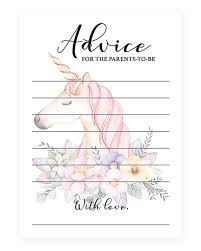advice for the cards unicorn baby advice cards for new parents printable littlesizzle