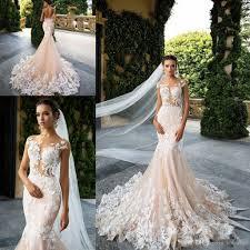 Wedding Dresses Discount Milla Nova 2017 Cap Sleeve Mermaid Wedding Dresses Sheer Neck Lace