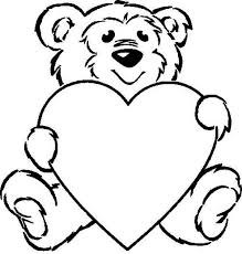 valentine bear coloring clipart free valentine bear coloring