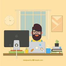 Graphic Designer Desk Flat Graphic Designer Desk Vector Free Download