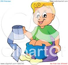 clipart of a cartoon happy blond white boy sitting on a potty